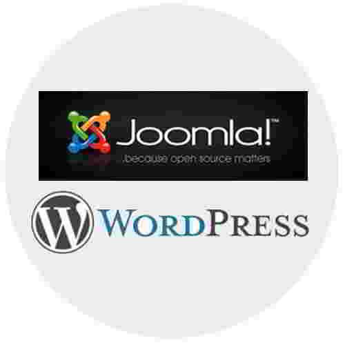 Joomla! og WordPress logo